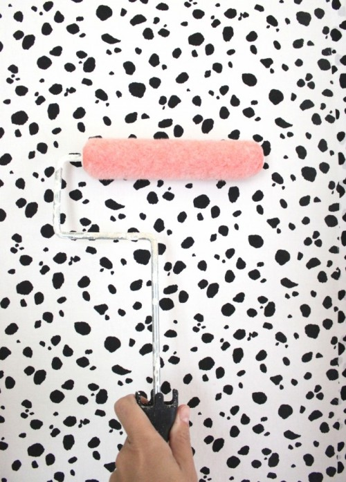DIY Dalmatian Print Accent Fabric Wall