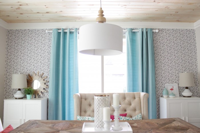 Picture Of diy dalmatian print fabric accent wall  3