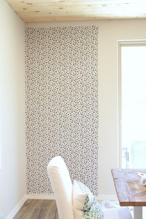 DIY Dalmatian Print Accent Fabric Wall