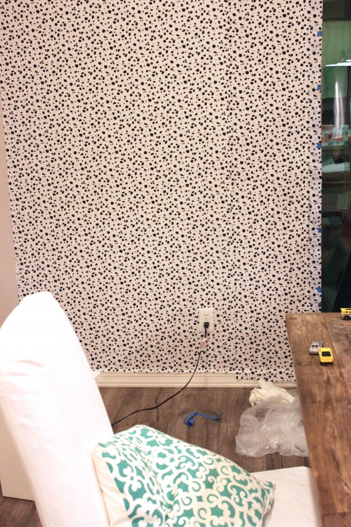 Picture Of diy dalmatian print fabric accent wall  5