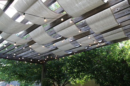 Diy shade and lights for a deck shelterness