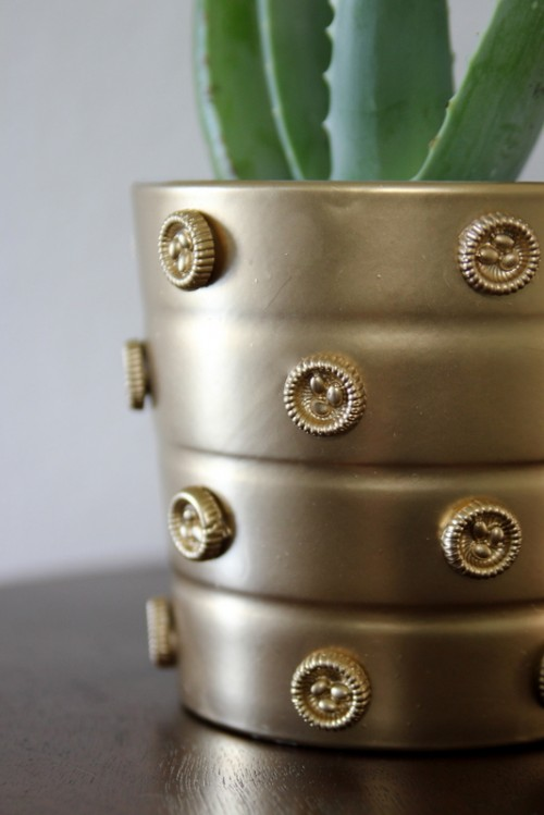 Diy Decorated Gold Planter Pot