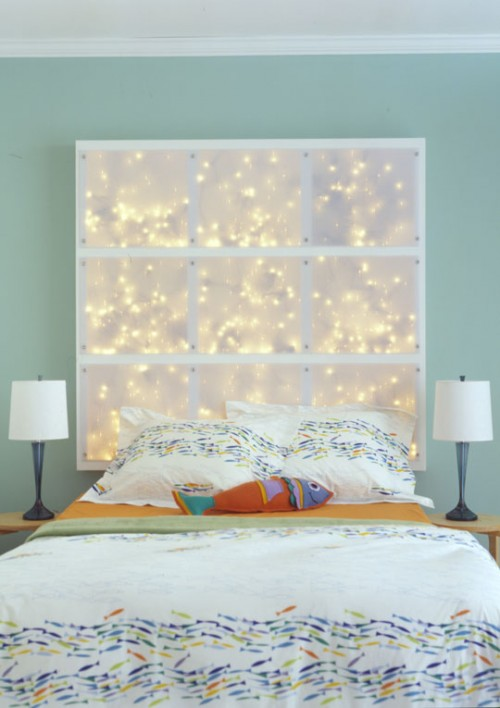 Christmas lights headboard (via shelterness)