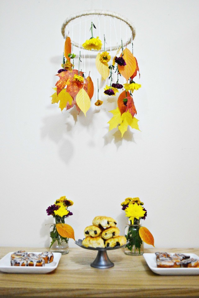 Picture Of diy decorative fall leaves and flowers mobile  2