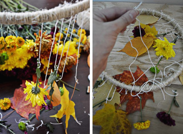 Picture Of diy decorative fall leaves and flowers mobile  5