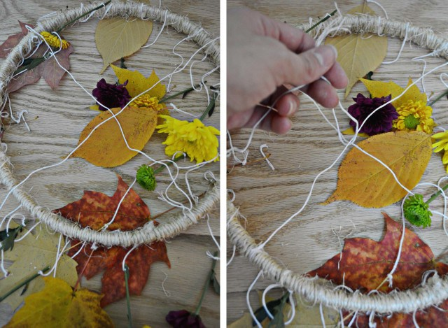 Picture Of diy decorative fall leaves and flowers mobile  6