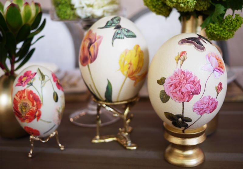 Diy Decoupage Eggs With Vintage Botanical Prints