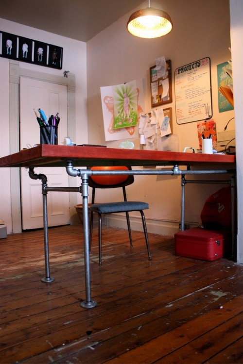 DIY Desk Of A Salvaged Door And Pipes