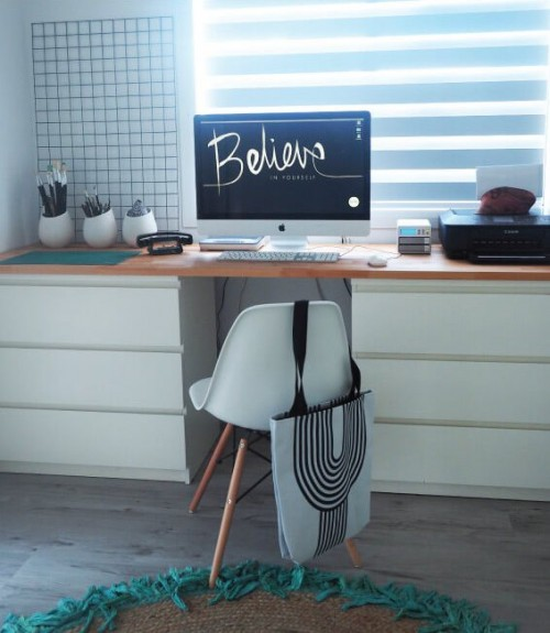 diy desk with 2 drawers from ikea malm shelterness. Black Bedroom Furniture Sets. Home Design Ideas
