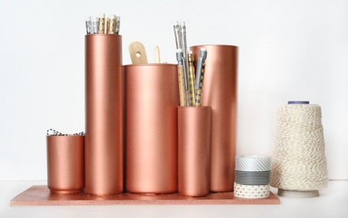 Diy Desktop Organizer Of Glass Cylinders