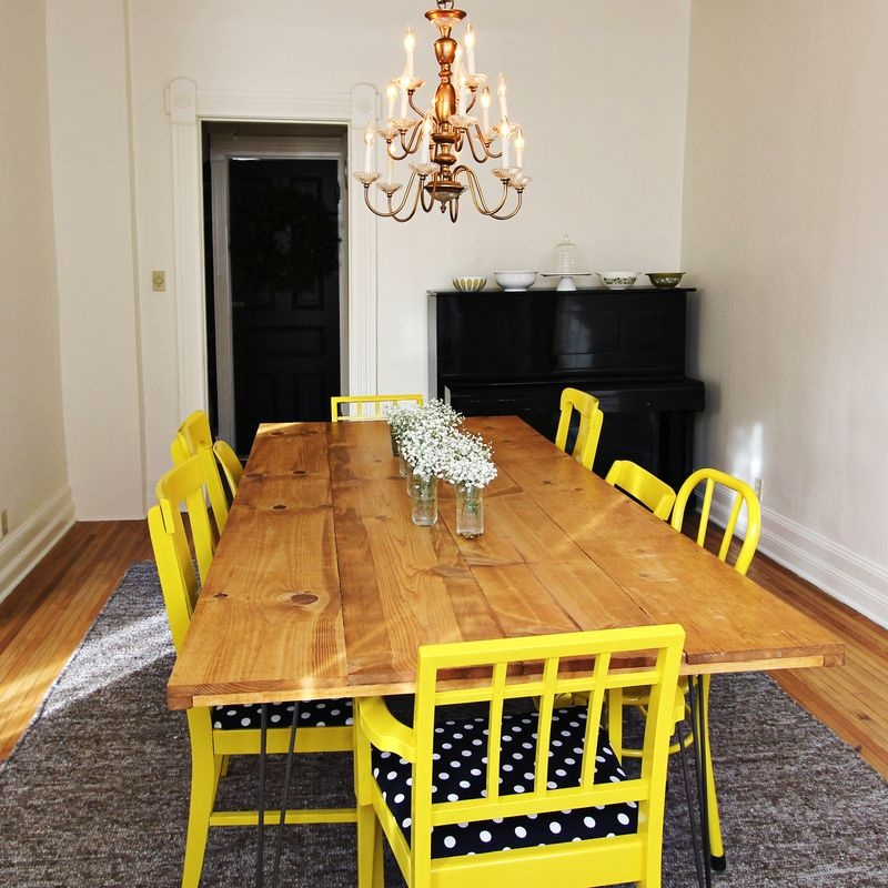 picture of diy dining table with trendy hairpin legs 4