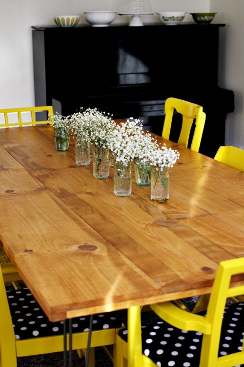 diy dining table with trendy hairpin legs shelterness