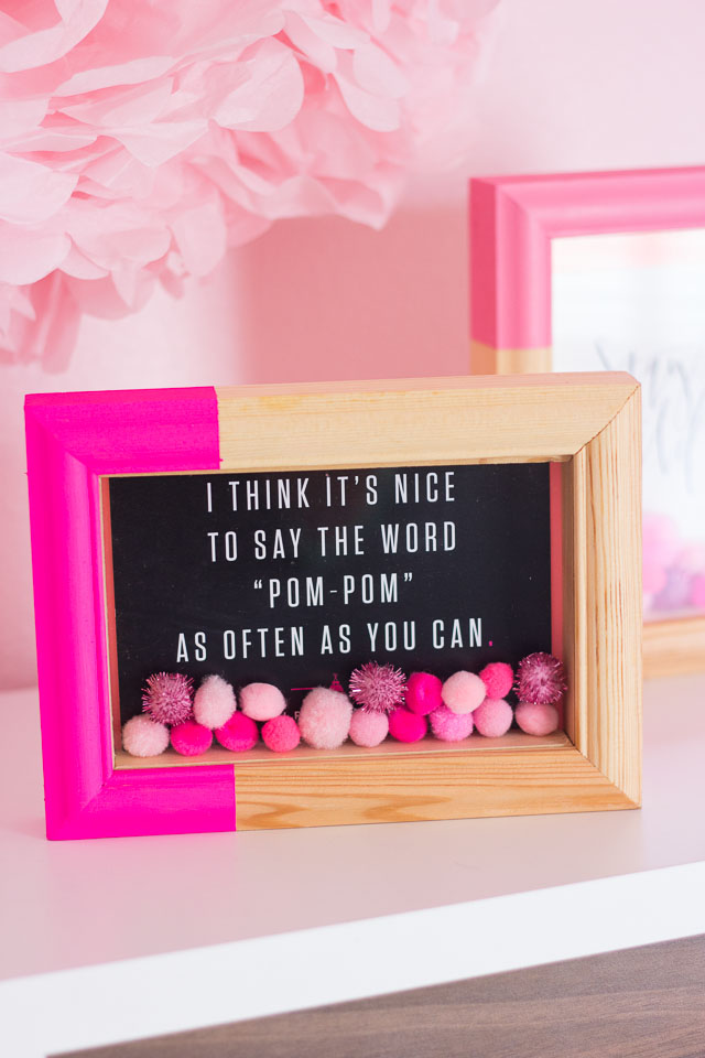 dipped pompom shadow boxes