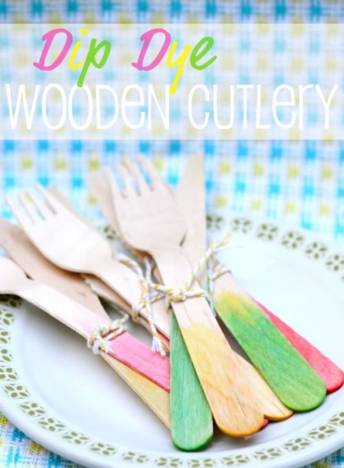 dip dyed wooden cutlery