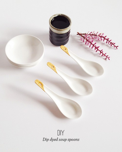 dip dyed soup spoons (via makeandtell)
