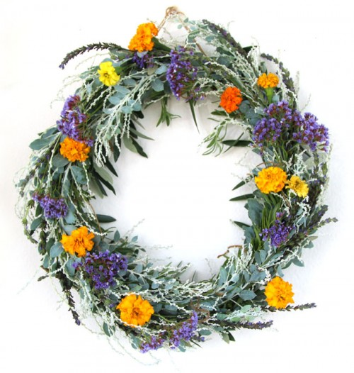 DIY Dollar Store Wreath With Natural Flowers And Greenery