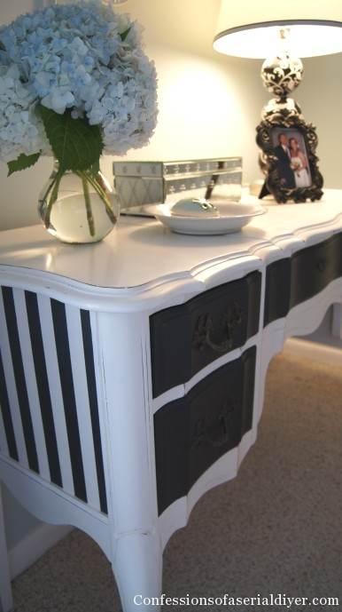 Black And White Dressing Table Makeover (via Confessionsofaserialdiyer)