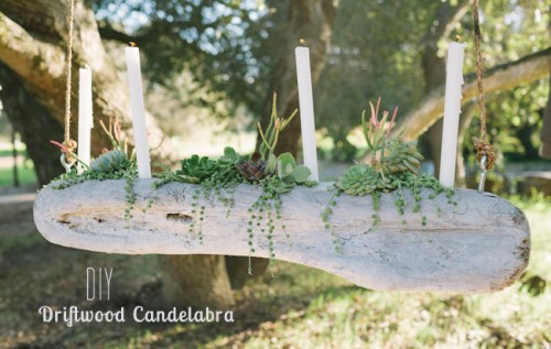 driftwood candelabra  (via weddingomania)