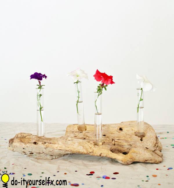 blooming driftwood centerpiece
