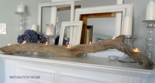 driftwood candleholder for mantel and table decor (via restorationhouseblog)