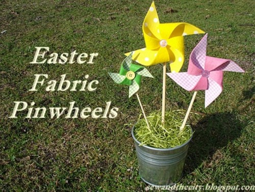 DIY Easter Fabric Pinwheels