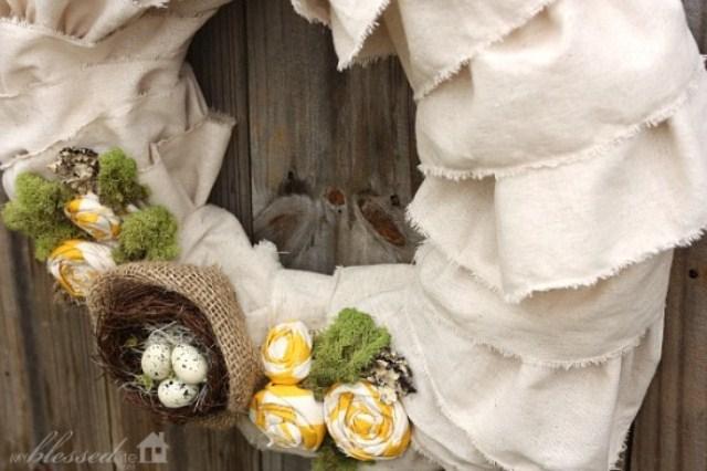 Diy Easter Wreath Of Ruffled Muslin