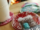 gingerbread house snowglobe coasters