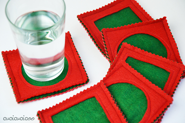 easy Christmas felt coasters