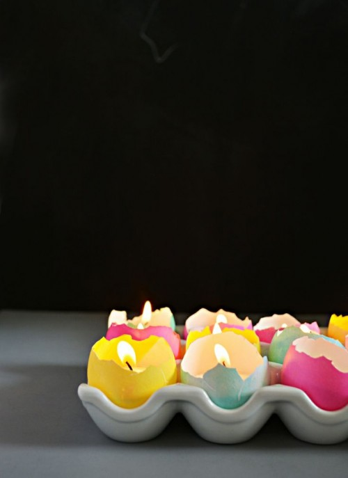 DIY Eggshell Tealight Candle Centerpiece For Easter Decor