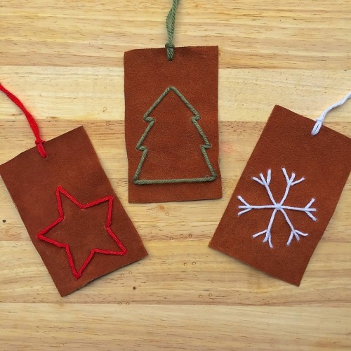 DIY Embroidered Leather Ornaments