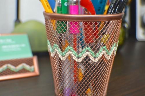 DIY Embroidered Copper Desk Accessories