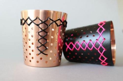 DIY Emroidered Metal Candleholders