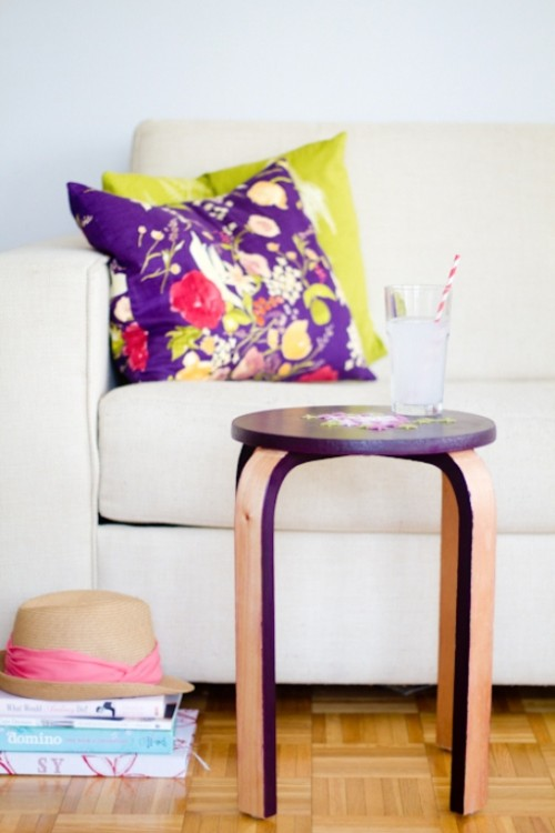 diy embroidered stool renovation shelterness. Black Bedroom Furniture Sets. Home Design Ideas