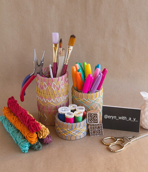 embroidered pencil holders