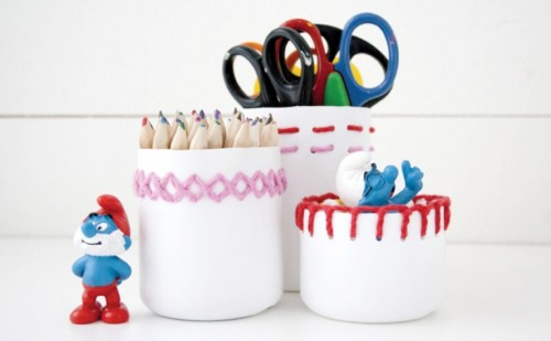 embroidered plastic pen holders (via shelterness)
