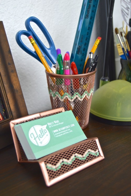 embroidered copper accessories (via shelterness)