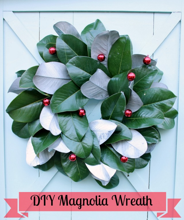 magnolia and ornaments wreath