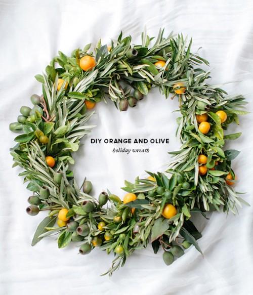 eucalyptus, orange and olive wreath (via weddingomania)