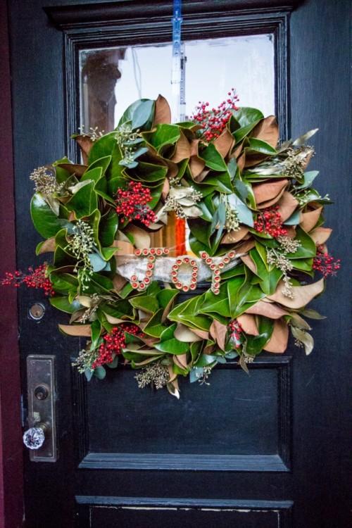magnolia JOY wreath (via notmerelyliving)