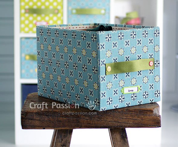 Picture Of diy fabric storage box with a handle  1