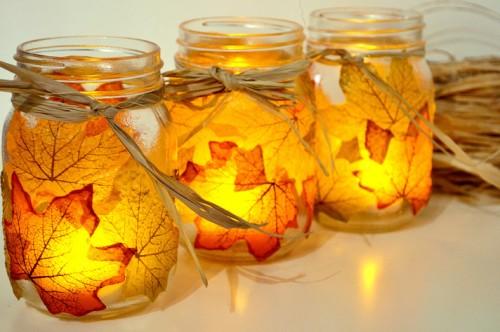 leaf mason jar candleholders (via sparkandchemistry)