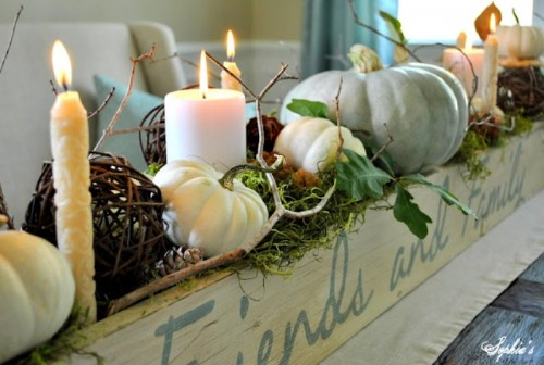 pumpkins and twig centerpiece
