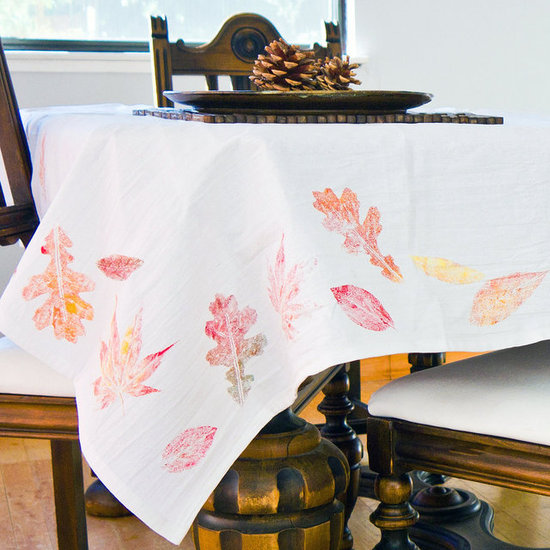 washed out fall leaves tablecloth