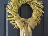 wheat and burlap wreath