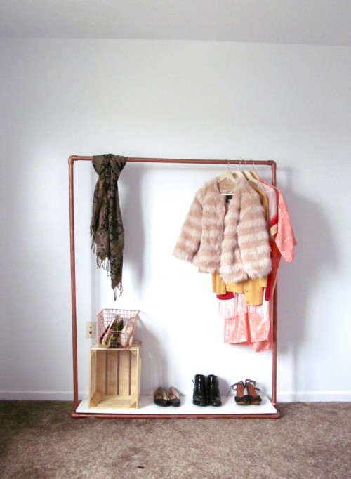 Perfect DIY Faux Copper Rolling Garment Rack Shelterness Extremely Creative Home  Design Plan.