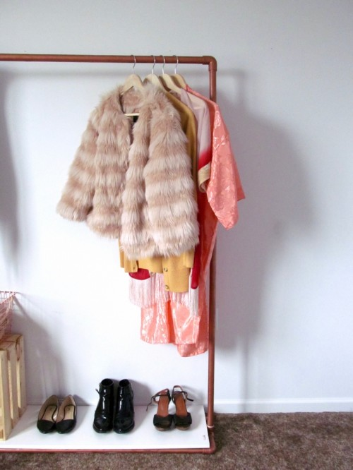 DIY Faux Copper Rolling Garment Rack