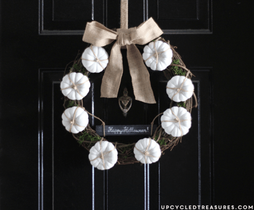 white mini pumpkin wreath (via upcycledtreasures)