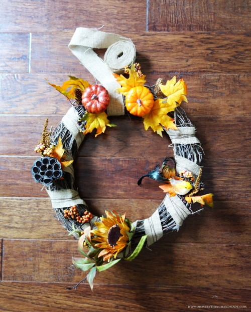 faux pumpkin wreath (via oheverythinghandmade)
