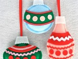 Felt ornaments that resemble glass ones