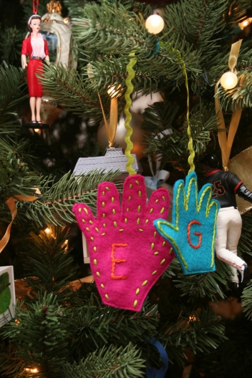 DIY Handprint Christmas Tree Ornaments